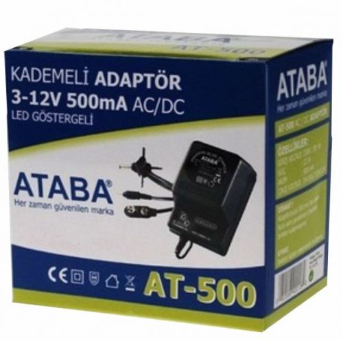 ATABA AT-500 Kademeli Adaptör / 0-12v 500mAh