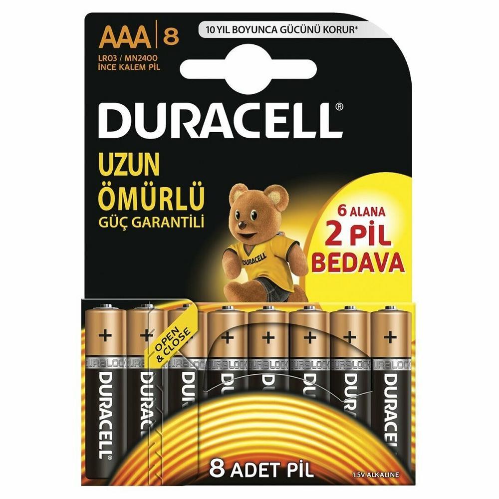 DURACELL Alkalin AAA İnce Kalem Pil 6+2\' Li (8\'Li