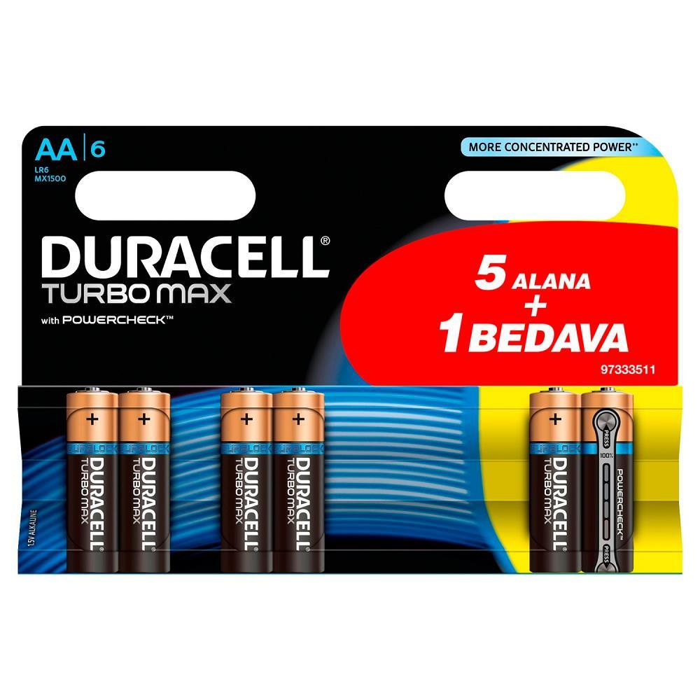 Duracell Turbo Max Alkalin AA Kalem Pil 6\'Lı / Dur