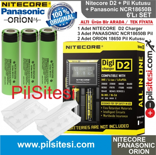 Nitecore D2 Şarj Aleti, Panasonic NCR18650B Pil, ORION 18650 Pil Kutusu /  6\'Lı Set