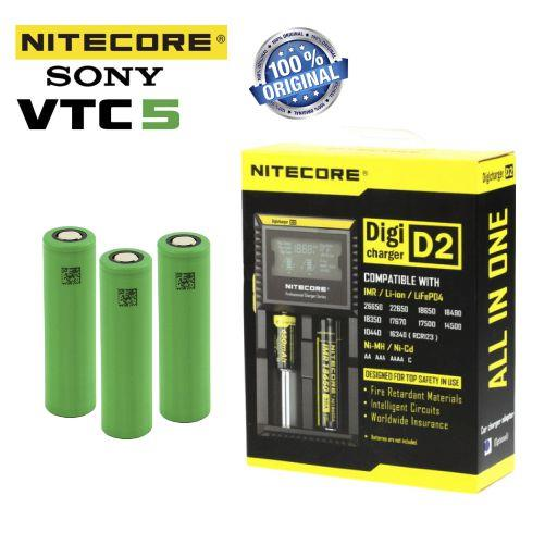 Nitecore D2 Şarj Aleti, SONY VTC5 18650 Pil /  6\'Lı Set