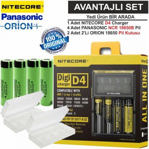 Nitecore D4 Şarj Aleti, Panasonic NCR18650B Pil, ORION 18650 Pil Kutusu /  7\'Li Set
