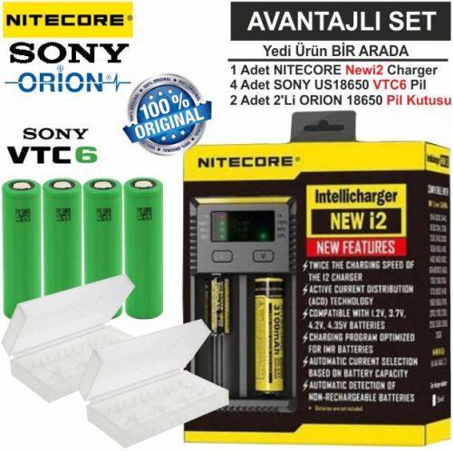 Nitecore NEW i2 Şarj Aleti, Sony US18650VTC6 Pil, ORION 18650 Pil Kutusu / 7\'Li Set