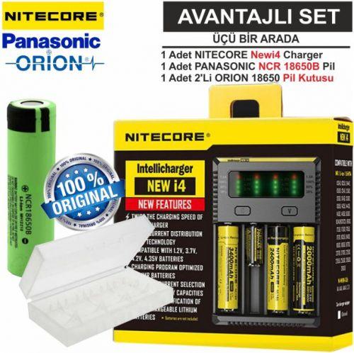 Nitecore NEWi4 Şarj Aleti, Panasonic NCR18650B, ORION 18650 Pil Kutusu / 3\'Lü Set