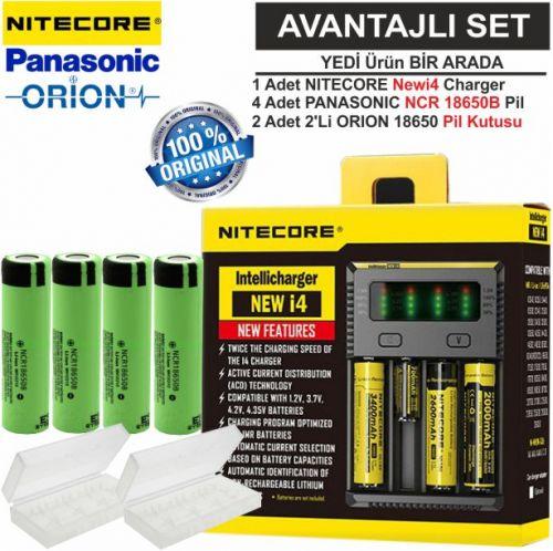 Nitecore NEWi4 Şarj Aleti, Panasonic NCR18650B, ORION 18650 Pil Kutusu / 7\'Li Set