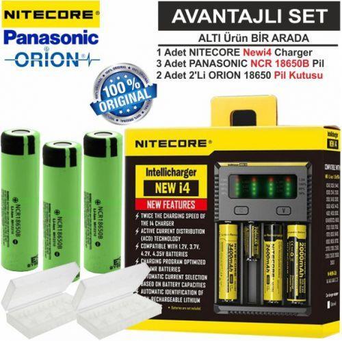 Nitecore NEWi4 Şarj Aleti, Panasonic NCR18650B, ORION 18650 Pil Kutusu / 6\'Lı Set