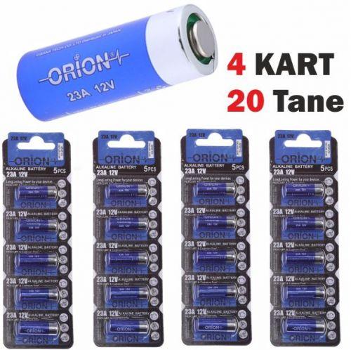ORION ALKALIN 23A 12V Pil / 4 x 5\'Li KART ( 20 Tane Pil)