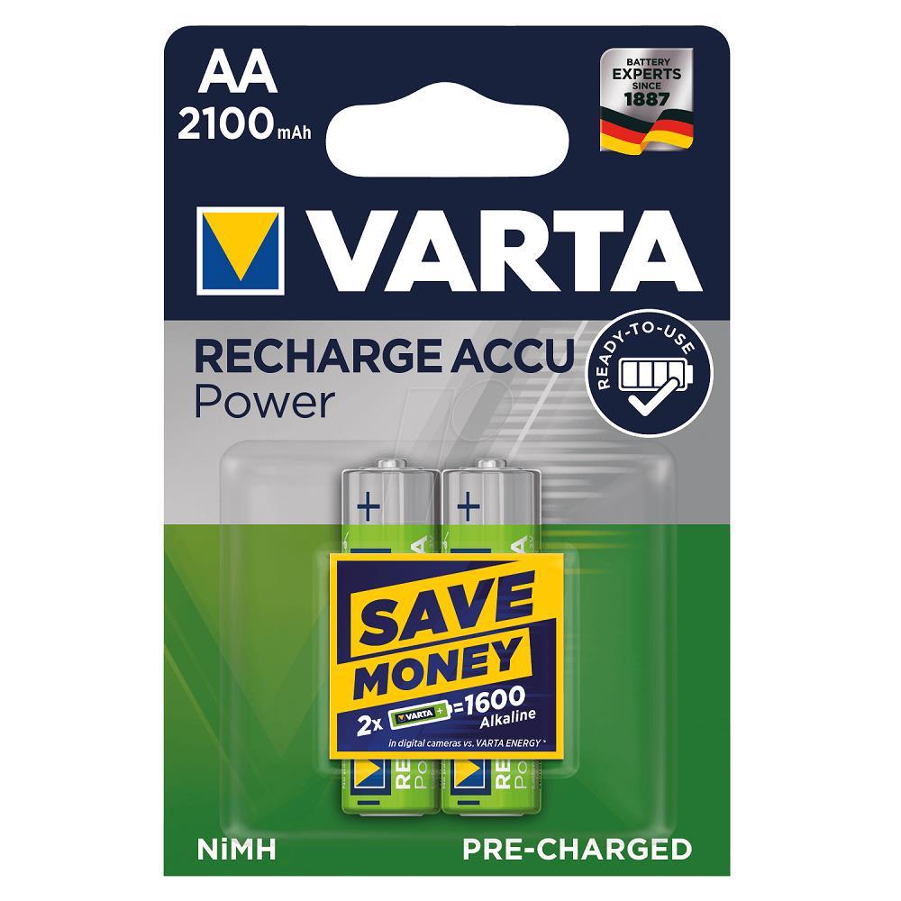 VARTA 56706 Power Şarjlı Kalem Pil AA 2100 Mah 2\'Li Kart