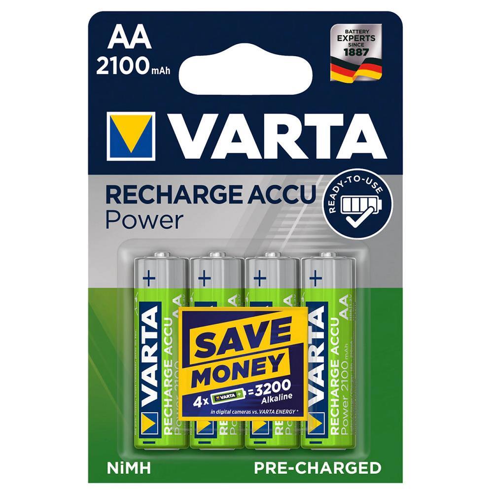 VARTA 56706 Power Şarjlı Kalem Pil AA 2100 Mah 4\'Lü Kart