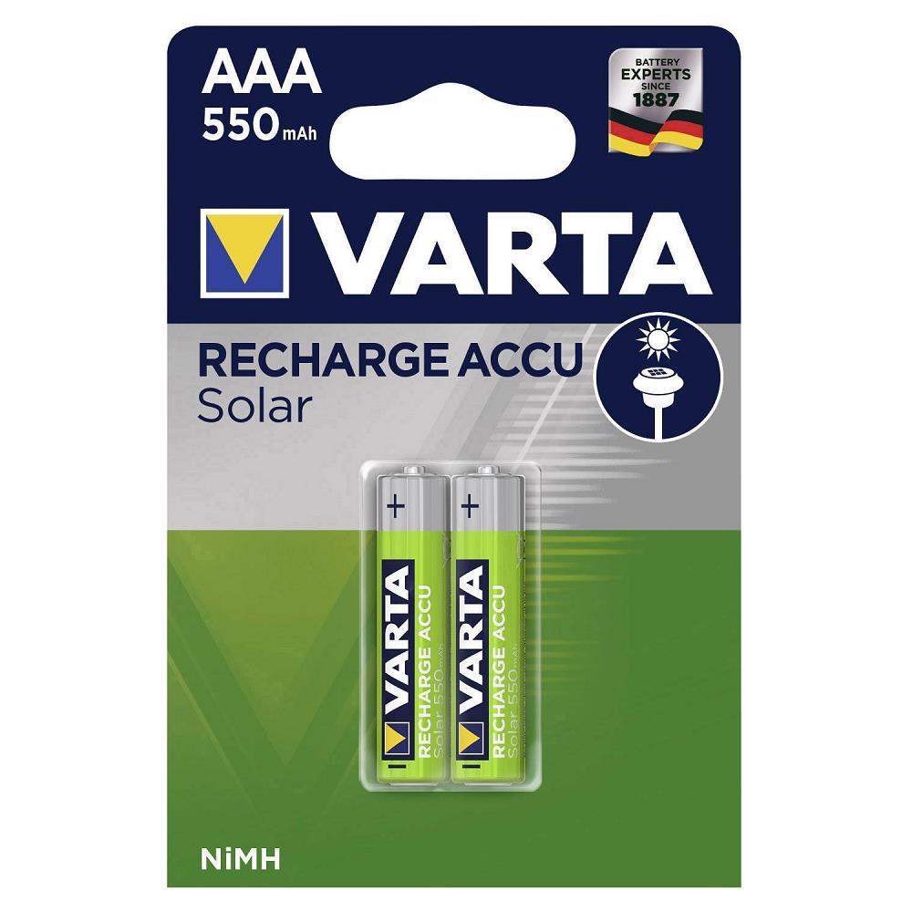 VARTA 56733 Solar Şarjlı İnce Kalem Pil AAA 550 Mah 2\'Li Kart