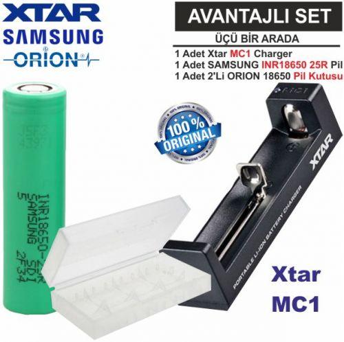 Xtar MC1 Şarj Aleti, Samsung INR18650-25R Li-ion Pil, ORION 18650 Pil taşıma kutusu 3\'Lü SET
