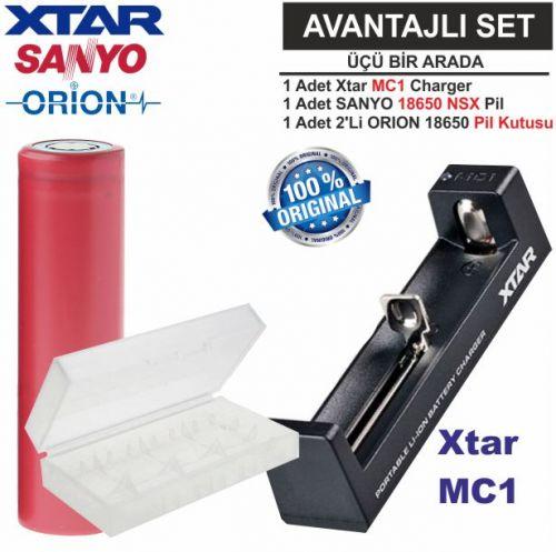 Xtar MC1 Şarj Aleti, Sanyo UR18650BF Li-ion Pil, ORION 18650 Pil taşıma kutusu / 3\'Lü SET