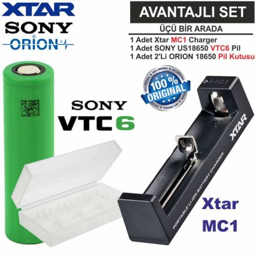 Xtar MC1 Şarj Aleti, Sony VTC6 Li-ion Pil, ORION 18650 Pil taşıma kutusu 3\'Lü SET
