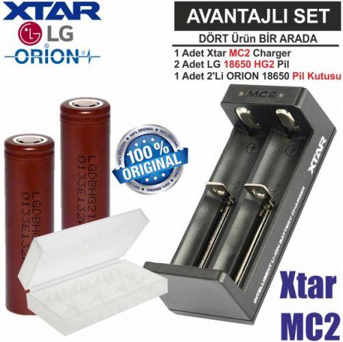 Xtar MC2 Şarj Aleti, LG ICR18650HG2 Li-ion Pil, ORION 18650 Pil taşıma kutusu / 4\'Lü SET