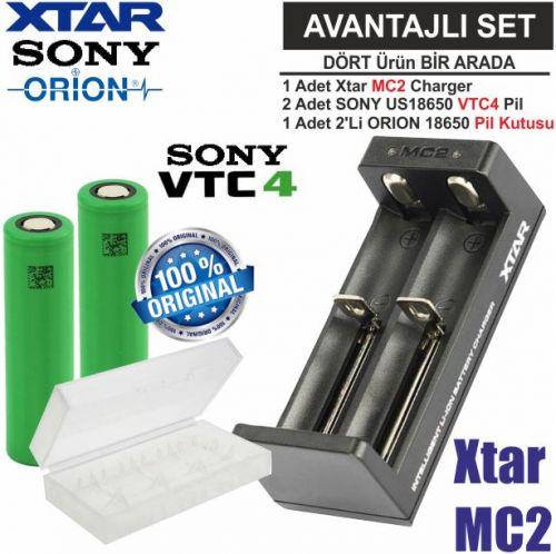 Xtar MC2 Şarj Aleti, Sony VTC4 Li-ion Pil, ORION 18650 Pil taşıma kutusu / 4\'Lü SET