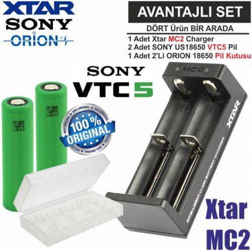 Xtar MC2 Şarj Aleti, Sony VTC5 Li-ion Pil, ORION 18650 Pil taşıma kutusu / 4\'Lü SET