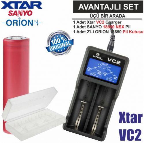 Xtar VC2 Şarj Aleti, Sanyo UR18650BF Li-ion Pil,ORION 18650 Pil taşıma kutusu / 3\'Lü SET