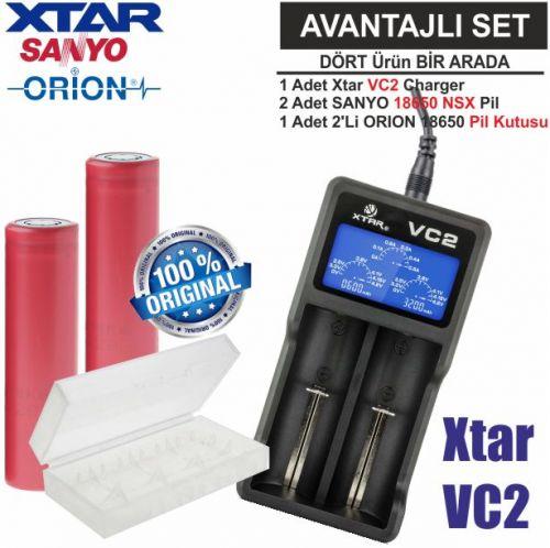 Xtar VC2 Şarj Aleti, Sanyo UR18650BF Li-ion Pil, ORION 18650 Pil taşıma kutusu / 4\'Lü SET