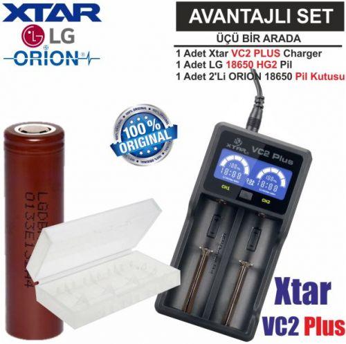 Xtar VC2 Plus Master Şarj Aleti, LG ICR18650HG2 Li-ion Pil, ORION 18650 Pil taşıma kutusu / 3\'Lü SET