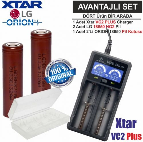 Xtar VC2 Plus Master Şarj Aleti, LG INR18650 HG2 Li-ion Pil, ORION 18650 Pil taşıma kutusu / 4\'Lü SET