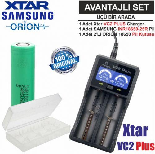 Xtar VC2 Plus Master Şarj Aleti, Samsung INR1865025R Li-ion Pil, ORION 18650 Pil taşıma kutusu / 3\'Lü SET