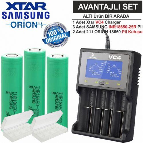 Xtar VC4 Şarj Aleti, Samsung INR18650-25R Li-ion Pil, ORION 18650 Pil taşıma kutusu / 6\'Lı SET
