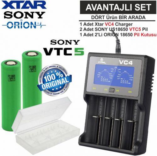 Xtar VC4 Şarj Aleti, Sony VTC5 Li-ion Pil, ORION 18650 Pil taşıma kutusu / 4\'Lü SET