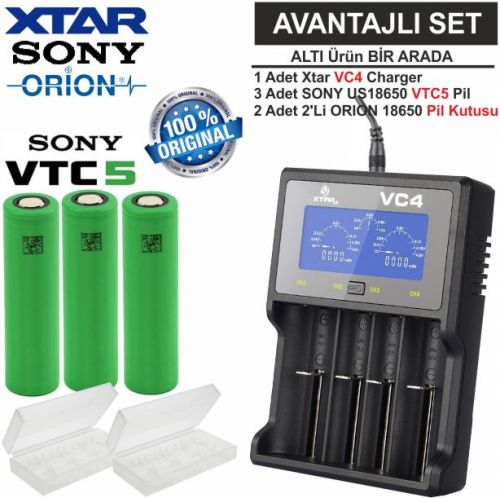 Xtar VC4 Şarj Aleti, Sony VTC5 Li-ion Pil, ORION 18650 Pil taşıma kutusu / 6\'Lı SET