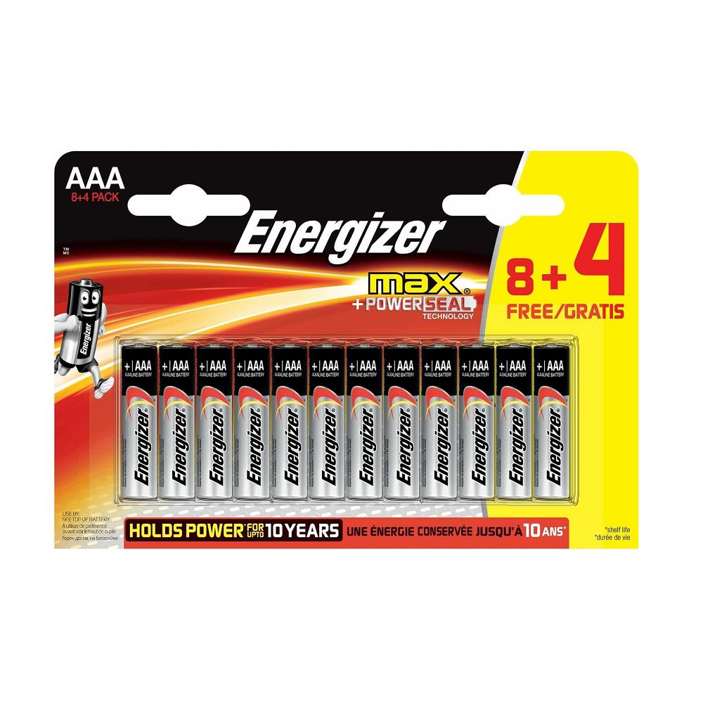 Energizer Alkaline Max Power Seal AAA İnce Pil 8+4\'lü Paket