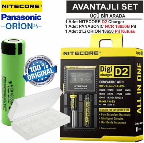 Nitecore D2 Şarj Aleti, Panasonic NCR18650B Pil, ORION 18650 Pil Kutusu / 3\'lü Set
