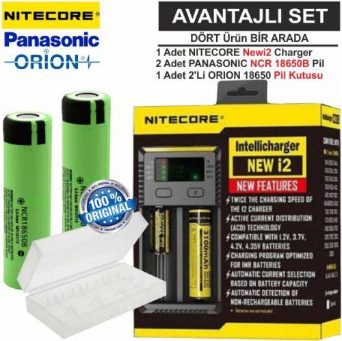 Nitecore NEWi2 Şarj Aleti, Panasonic NCR18650B Pil, ORION 18650 Pil Kutusu / 4\'Lü Set