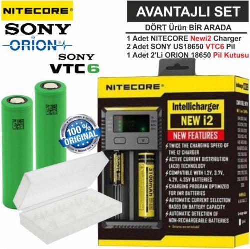 Nitecore NEW i2 Şarj Aleti, Sony US18650VTC6 Pil, ORION 18650 Pil Kutusu / 4\'Lü Set
