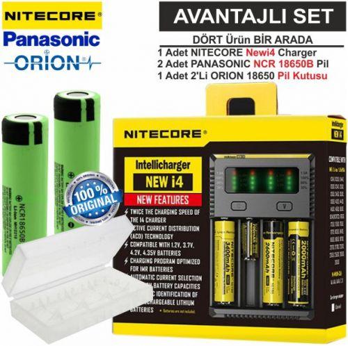 Nitecore NEWi4 Şarj Aleti, Panasonic NCR18650B, ORION 18650 Pil Kutusu / 4\'lü Set