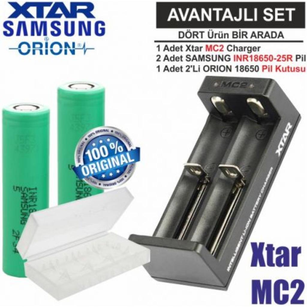 Xtar MC2 Şarj Aleti, Samsung INR18650-25R Li-ion Pil, ORION 18650  Pil taşıma kutusu 4\'Lü SET