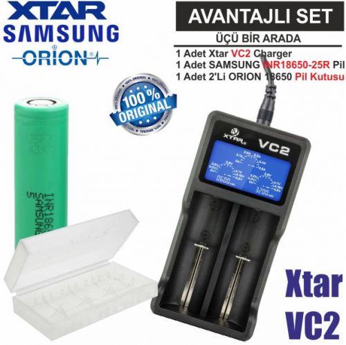 Xtar VC2 Şarj Aleti, Samsung INR18650-25R Li-ion Pil,ORION 18650 Pil taşıma kutusu / 3\'Lü SET